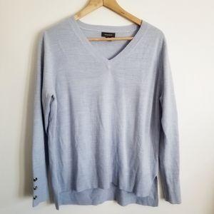 Primark light blue crew neck sweater button sleeve